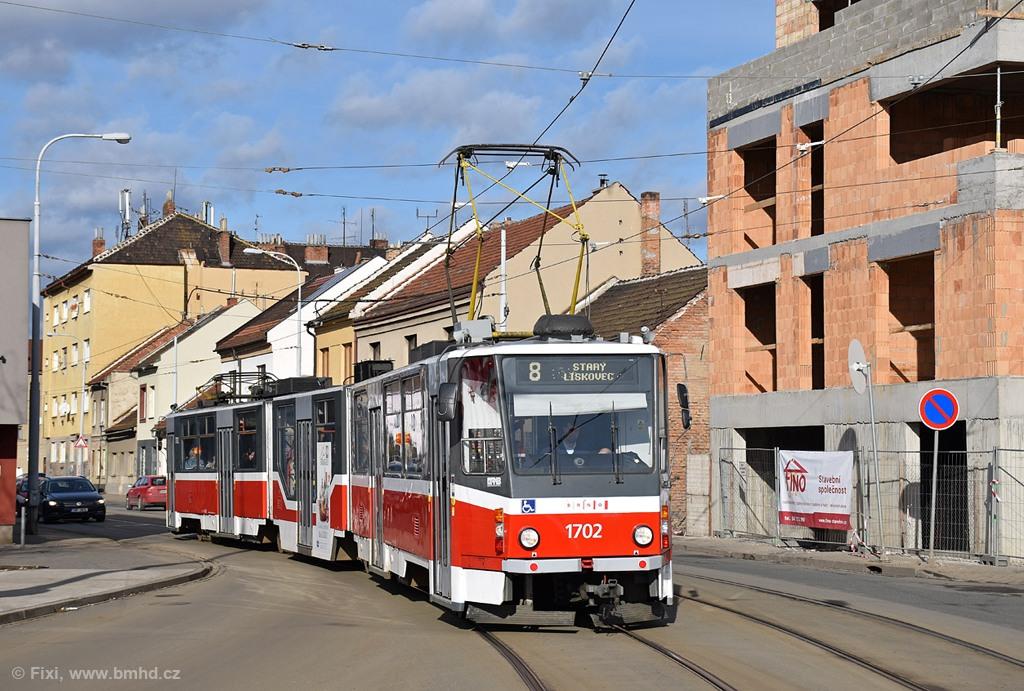 Fotogalerie » ČKD Tatra KT8D5R.N2 1702 | Brno | Černovice | Životského