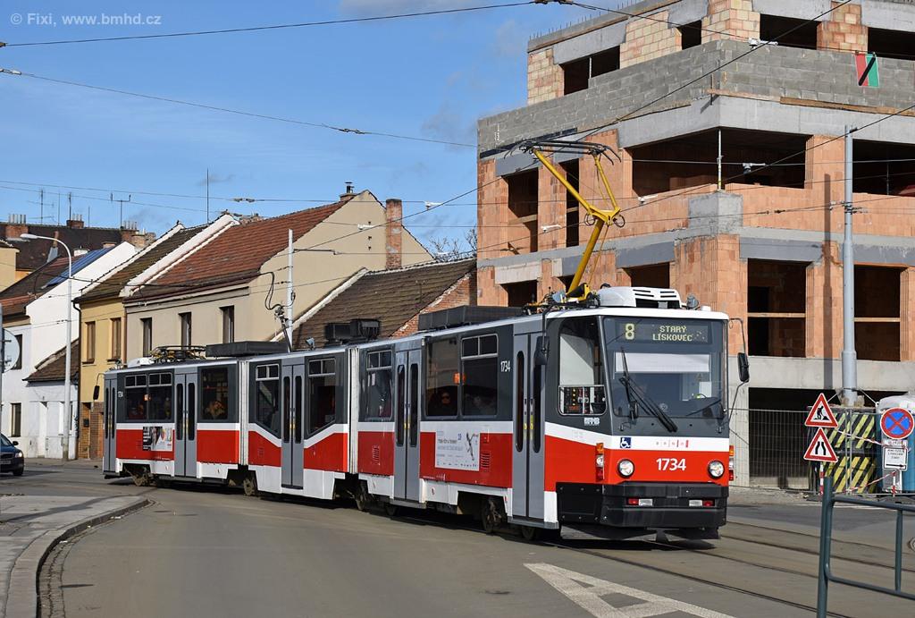 Fotogalerie » ČKD Tatra KT8D5N 1734   Brno   Černovice   Životského