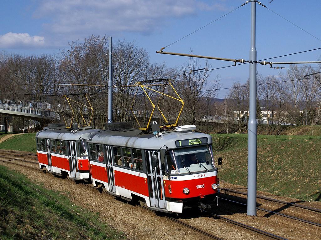Fotogalerie » ČKD Tatra T3G 1606 | ČKD Tatra T3G 1608 | Brno | Bystrc