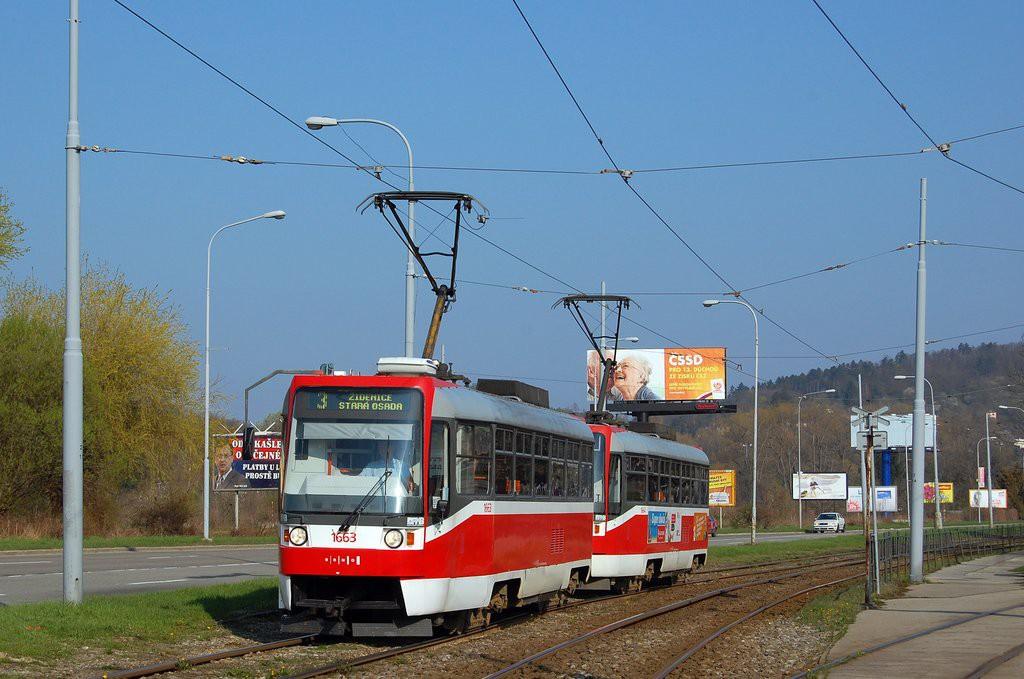 Fotogalerie » ČKD Tatra T3R 1663 | ČKD Tatra T3R 1664 | Brno | Komín | Kníničská