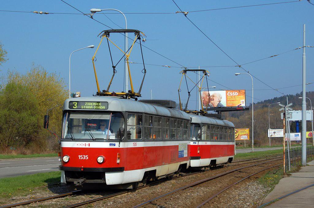 Fotogalerie » ČKD Tatra T3M 1535 | ČKD Tatra T3M 1540 | Brno | Komín | Kníničská