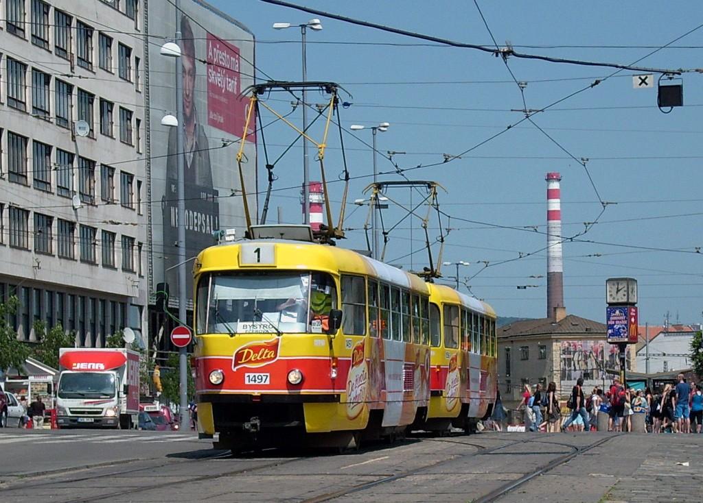 Fotogalerie » ČKD Tatra T3 1497   ČKD Tatra T3 1556   Brno   střed   Nádražní