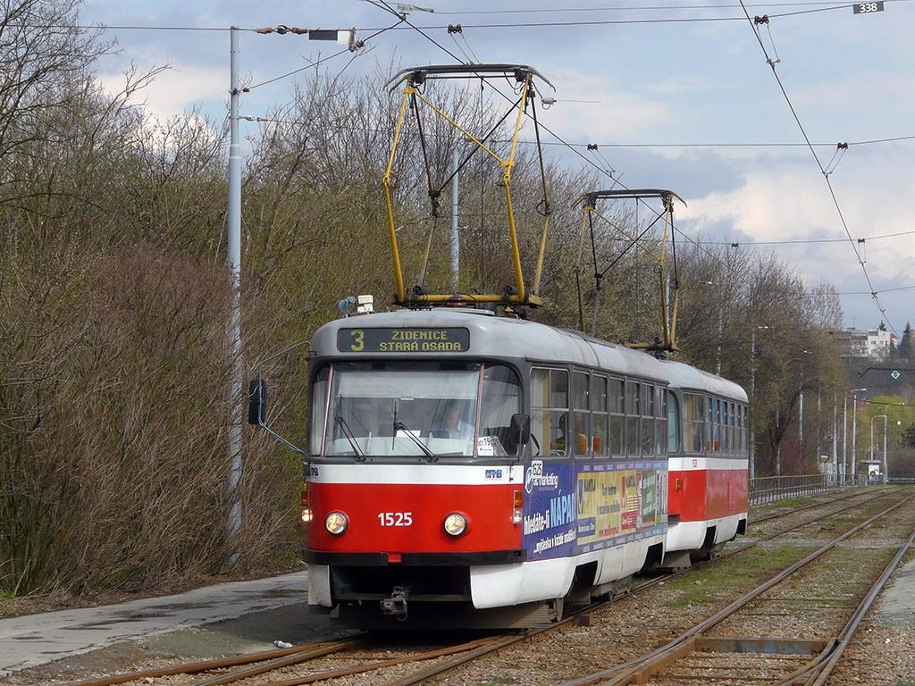 Fotogalerie » ČKD Tatra T3 1525 | ČKD Tatra T3 1528 | Brno | Komín | Kníničská | Vozovna Komín