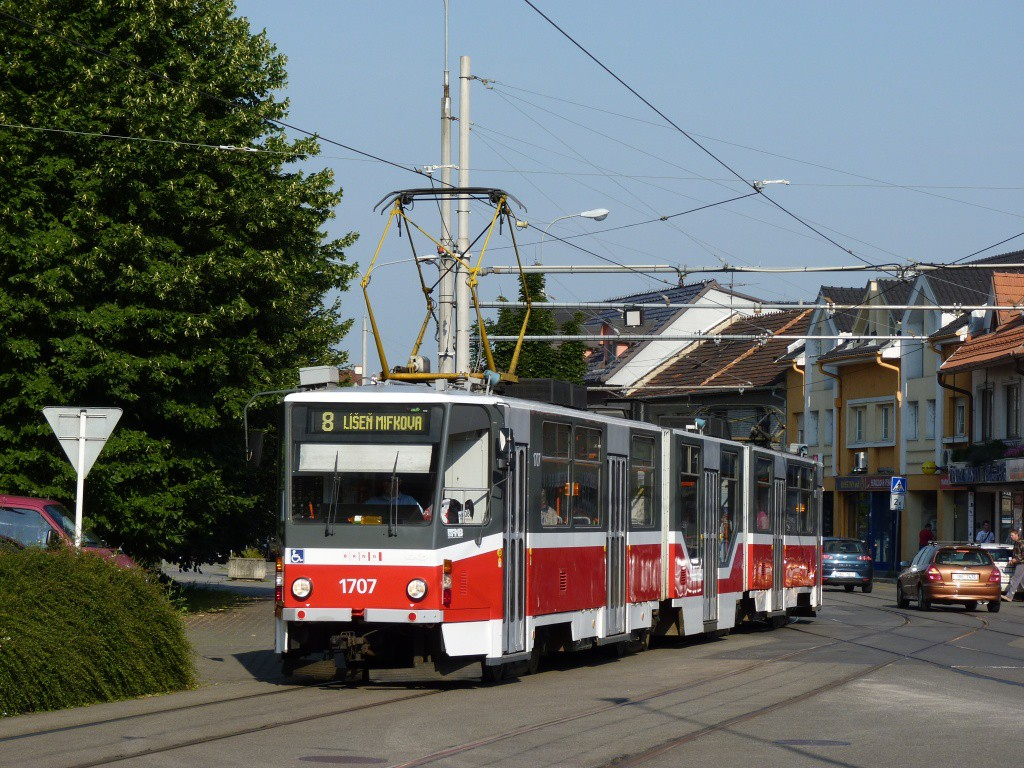 Fotogalerie » ČKD Tatra KT8D5R.N2 1707 | Brno | Židenice | Nezamyslova