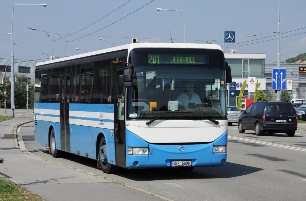 Fotogalerie » Irisbus Crossway 12M 4B7 5686 | Brno | Vinohrady | Žarošická | Prušánecká