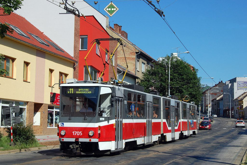 Fotogalerie » ČKD Tatra KT8D5R.N2 1705 | Brno | Žabovřesky | Horova