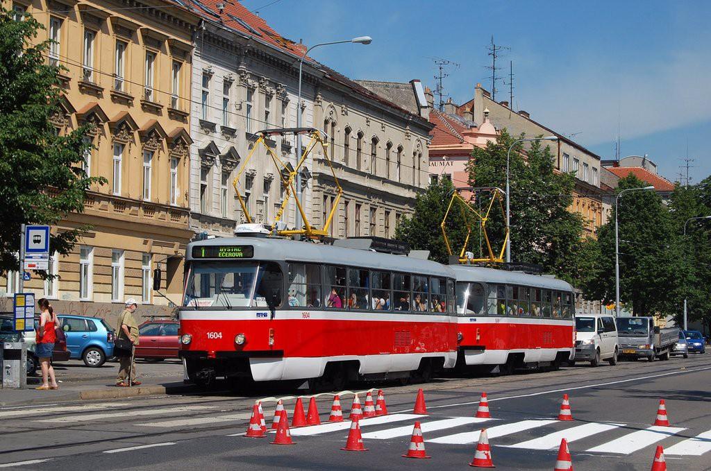 Fotogalerie » ČKD Tatra T3G 1604 | ČKD Tatra T3G 1619 | Brno | Ponava | Štefánikova | Hrnčířská