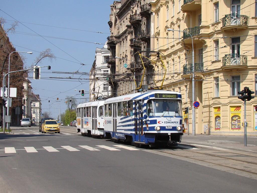 Fotogalerie » ČKD Tatra T3G 1651 | ČKD Tatra T3G 1652 | Brno | střed | Veveří