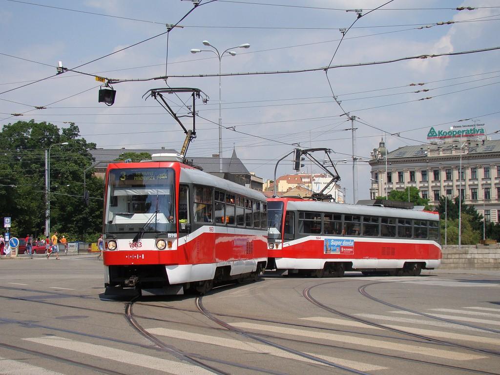 Fotogalerie » ČKD DS T3R 1663 | ČKD DS T3R 1664 | Brno | střed | Moravské náměstí