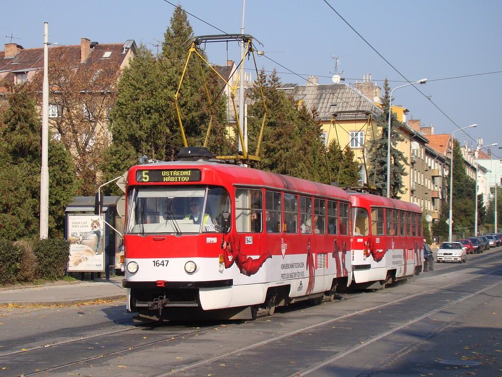 Fotogalerie » ČKD Tatra T3G 1647 | ČKD Tatra T3G 1648 | Brno | Černá Pole | Merhautova | Venhudova