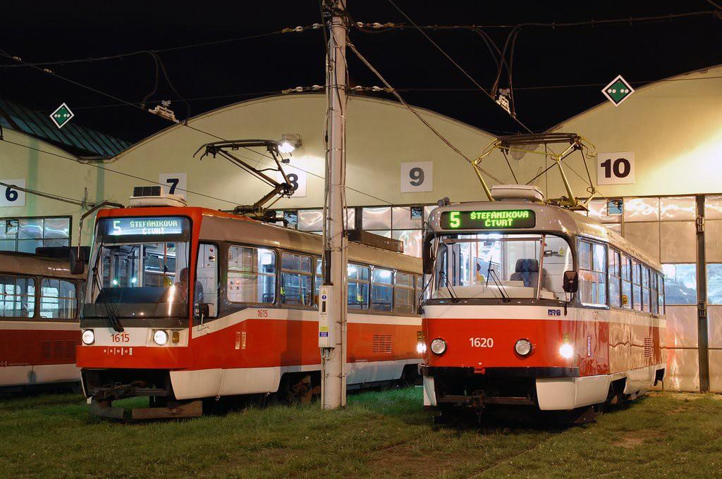 Fotogalerie » ČKD Tatra T3R 1615 | ČKD Tatra T3P 1620 | Brno | vozovna Medlánky