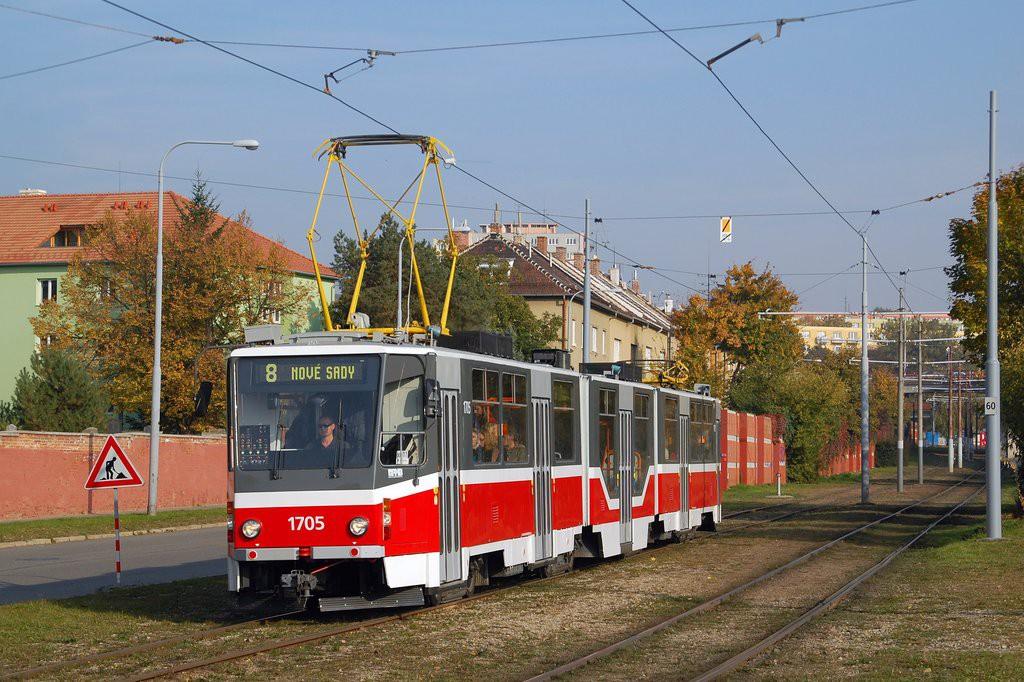 Fotogalerie » ČKD Tatra KT8D5R.N2 1705 | Brno | Židenice | Nezamyslova