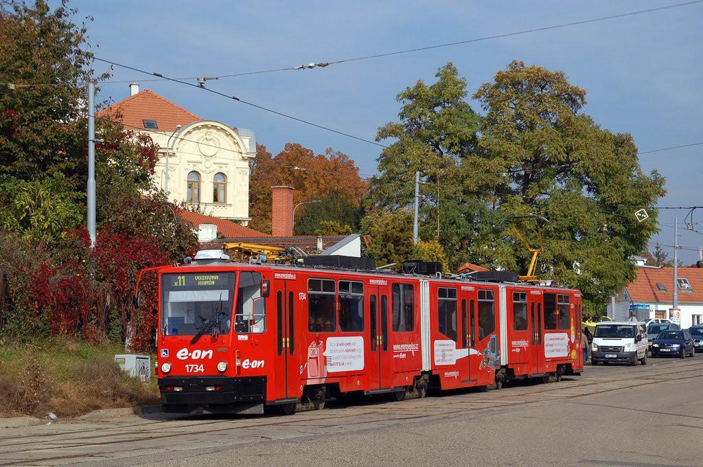Fotogalerie » ČKD Tatra KT8D5N 1734 | Brno | Žabovřesky | Sochorova | Rosického náměstí