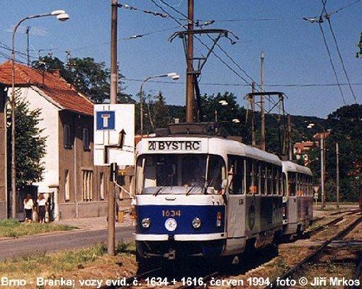 Fotogalerie » ČKD Tatra T3G 1634 | Brno | Komín | Branka