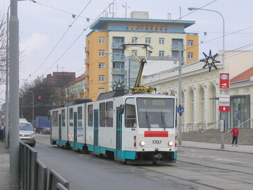 Fotogalerie » ČKD Tatra KT8D5 1707 | Brno | Královo Pole | Palackého