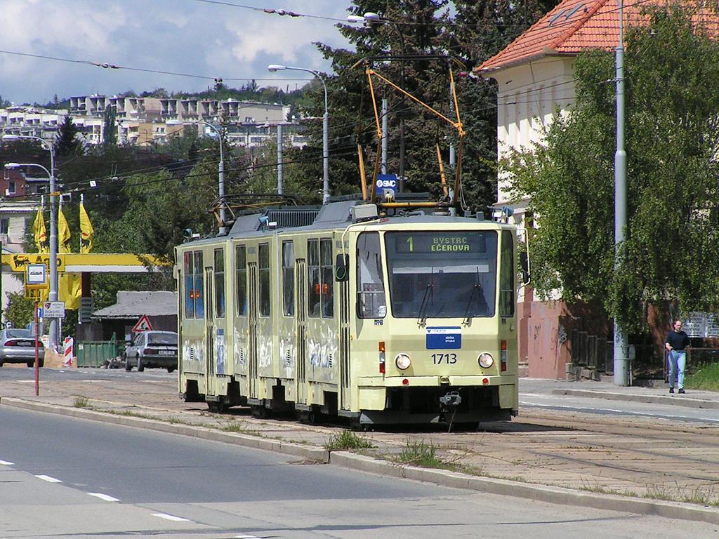 Fotogalerie » ČKD Tatra KT8D5 1713 | Brno | Královo Pole | Palackého | Hudcova