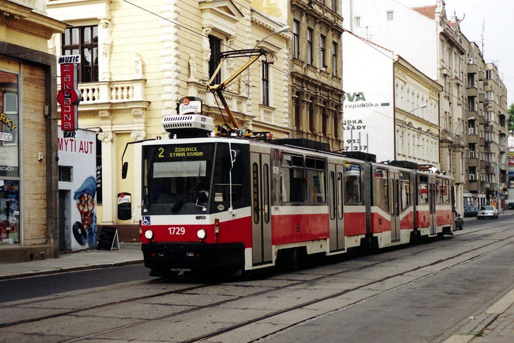 Fotogalerie » ČKD Tatra KT8D5N 1729 | Brno | Staré Brno | Hybešova