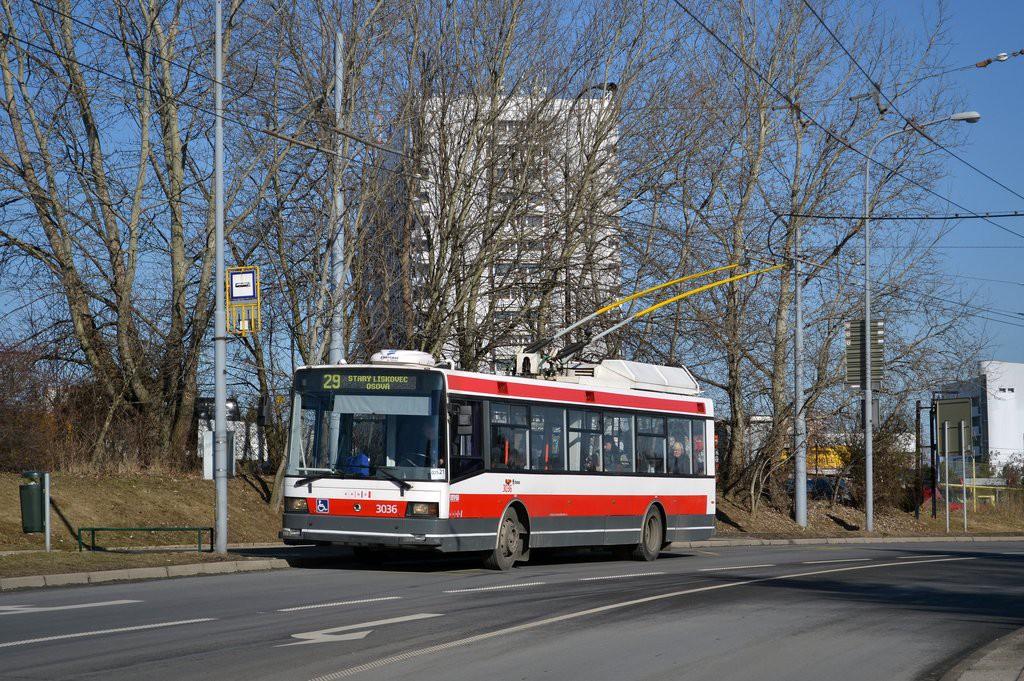 Fotogalerie » Škoda 21Tr 3036 | Brno | Starý Lískovec | Osová | Pod Nemocnicí