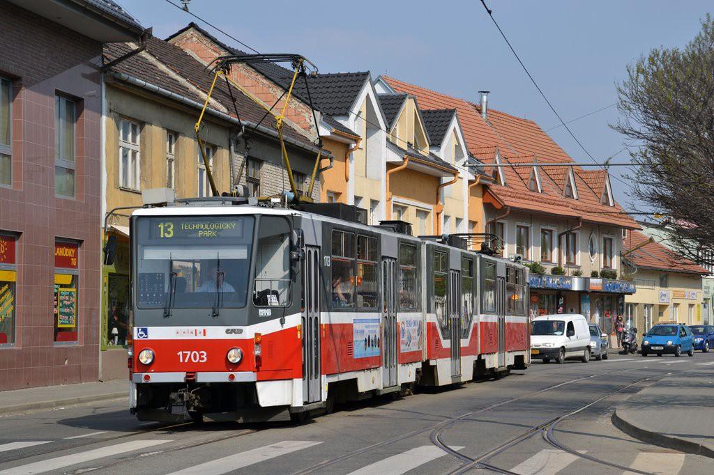 Fotogalerie » ČKD Tatra KT8D5R.N2 1703 | Brno | Židenice | Táborská | Geislerova