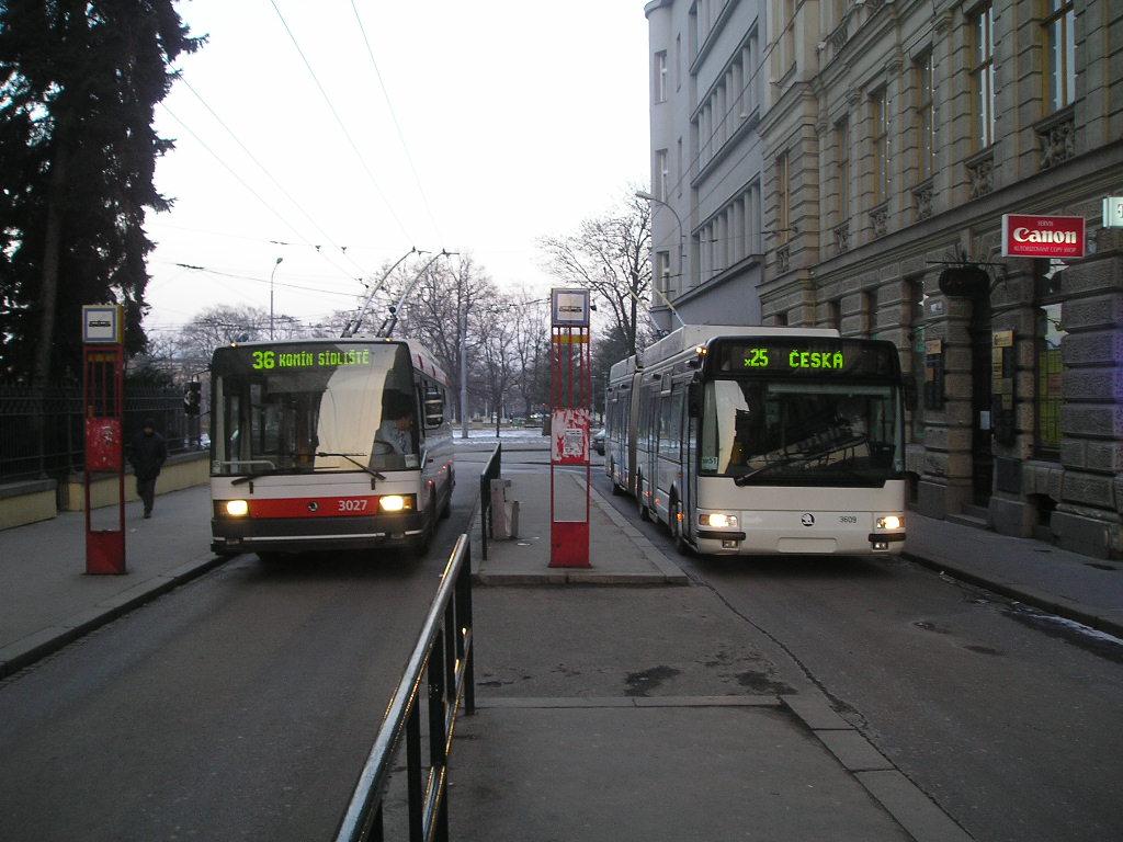 Fotogalerie » Škoda 21Tr 3027 | Škoda 25Tr Citybus 3609 | Brno | střed | Brandlova | Česká