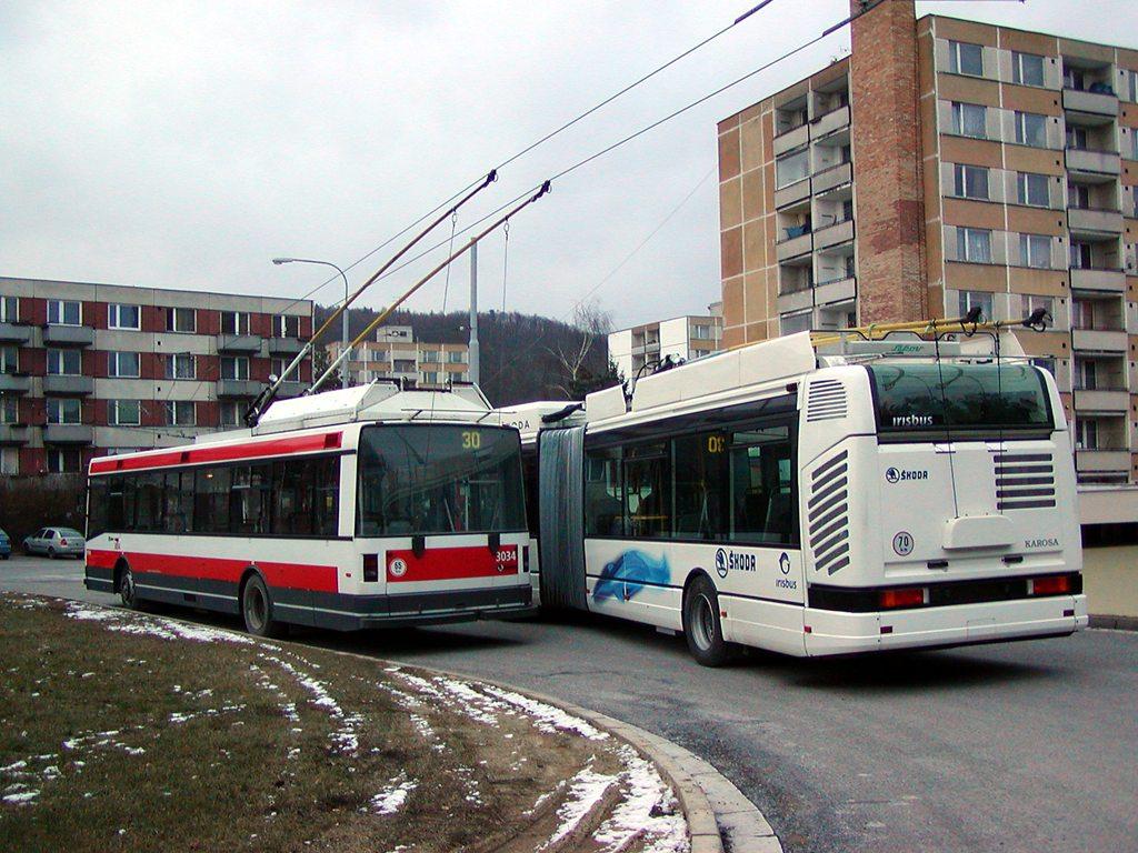 Fotogalerie » Škoda 25Tr Citybus 3609 | Škoda 21Tr 3034 | Brno | Bystrc | Černého | Černého