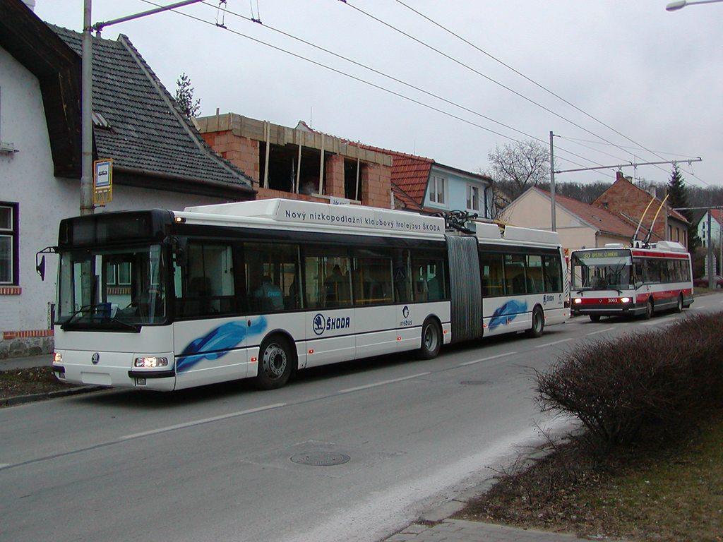 Fotogalerie » Škoda 25Tr Citybus 3609   Škoda 21Tr 3003   Brno   Komín   Hlavní   Podveská