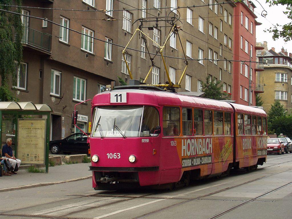 Fotogalerie » ČKD Tatra K2MM 1063 | Brno | Černá Pole | Jugoslávská | Jugoslávská