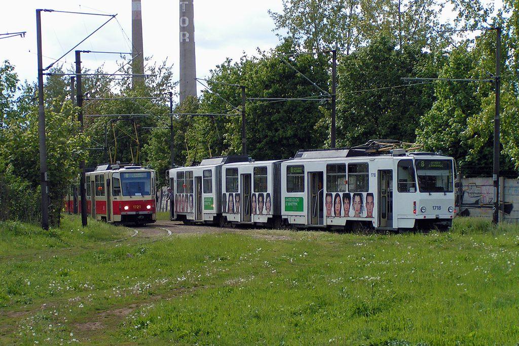 Fotogalerie » ČKD Tatra KT8D5 1718 | Brno | Stránská skála, smyčka