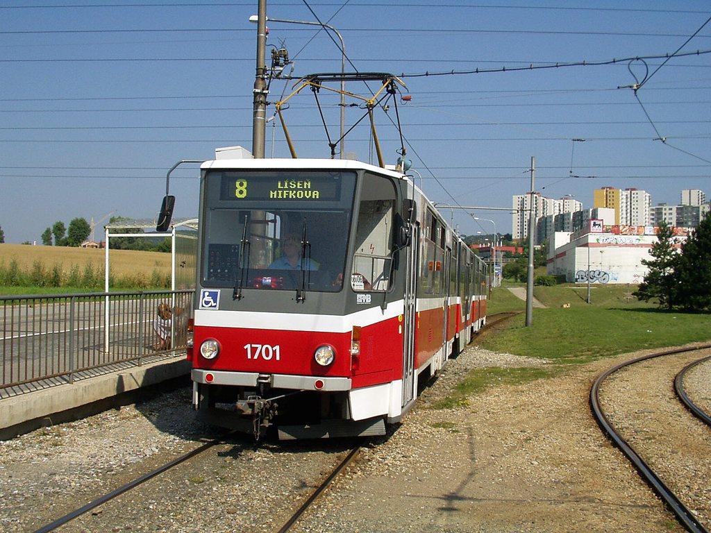 Fotogalerie » ČKD Tatra KT8D5R.N2 1701 | Brno | Starý Lískovec | Jemelkova | Starý Lískovec, smyčka