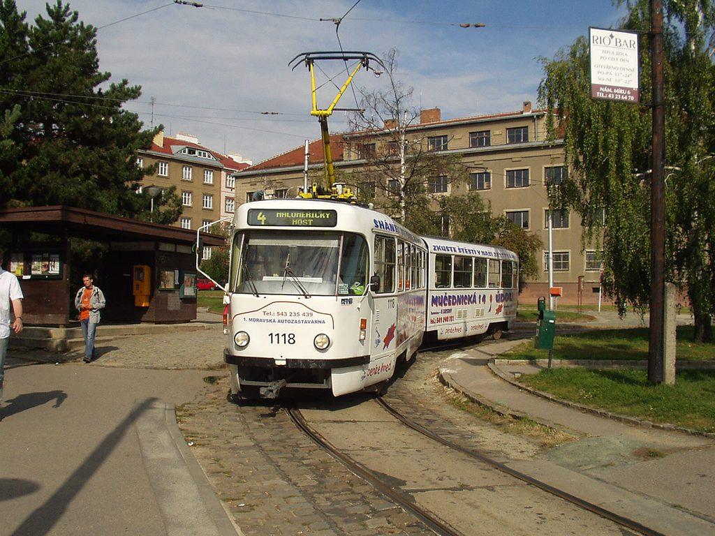 Fotogalerie » ČKD Tatra K2P 1118 | Brno | Masarykova čtvrť | Náměstí míru | Náměstí Míru, smyčka