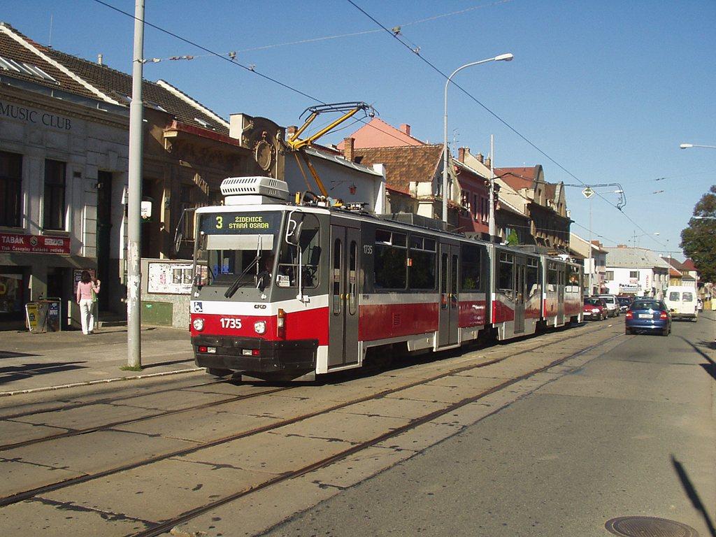 Fotogalerie » ČKD Tatra KT8D5N 1735 | Brno | Žabovřesky | Minská | Tábor