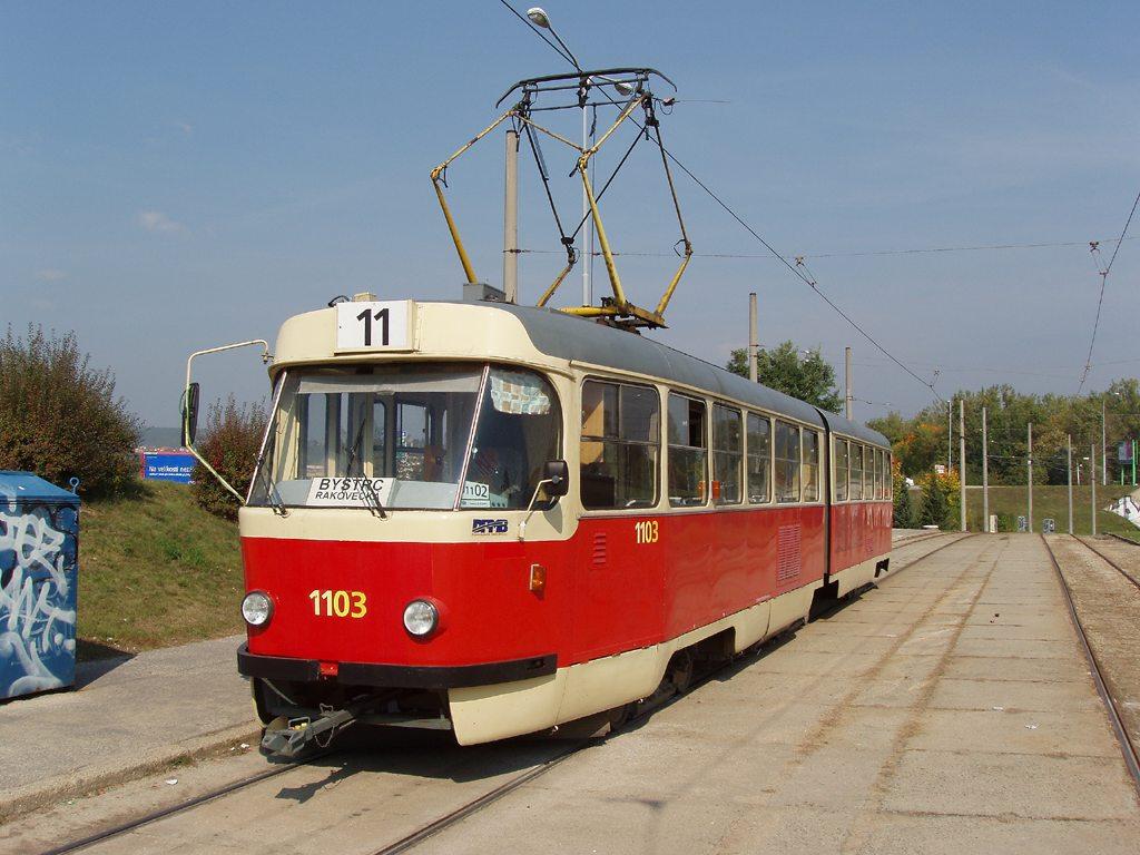 Fotogalerie » ČKD Tatra K2 1103   Brno   Bystrc   Rakovecká   Rakovecká, smyčka