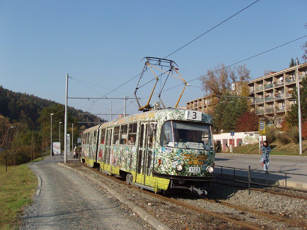 Fotogalerie » ČKD Tatra K2YU 1123   Brno   Komín   Bystrcká   Podlesí