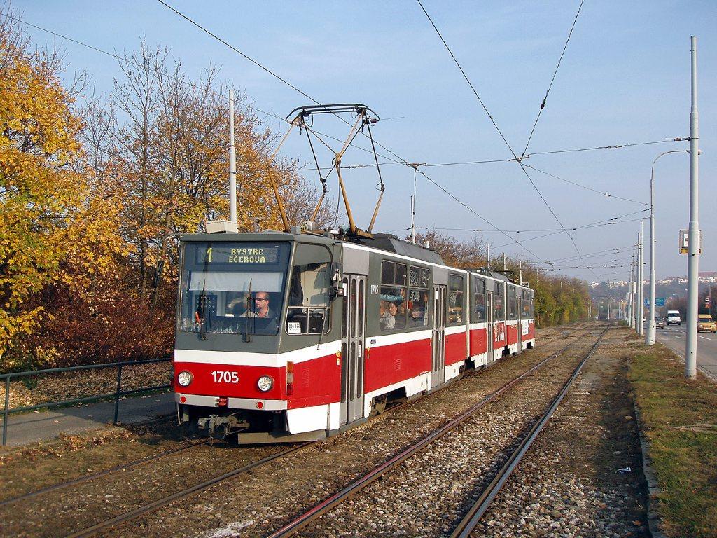 Fotogalerie » ČKD Tatra KT8D5 1705 | Brno | Žabovřesky | Kníničská