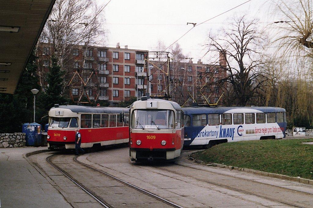 Fotogalerie » ČKD Tatra T3G 1609   ČKD Tatra T3G 1621   Tatra T2R 1470   Brno   Řečkovice   Řečkovice