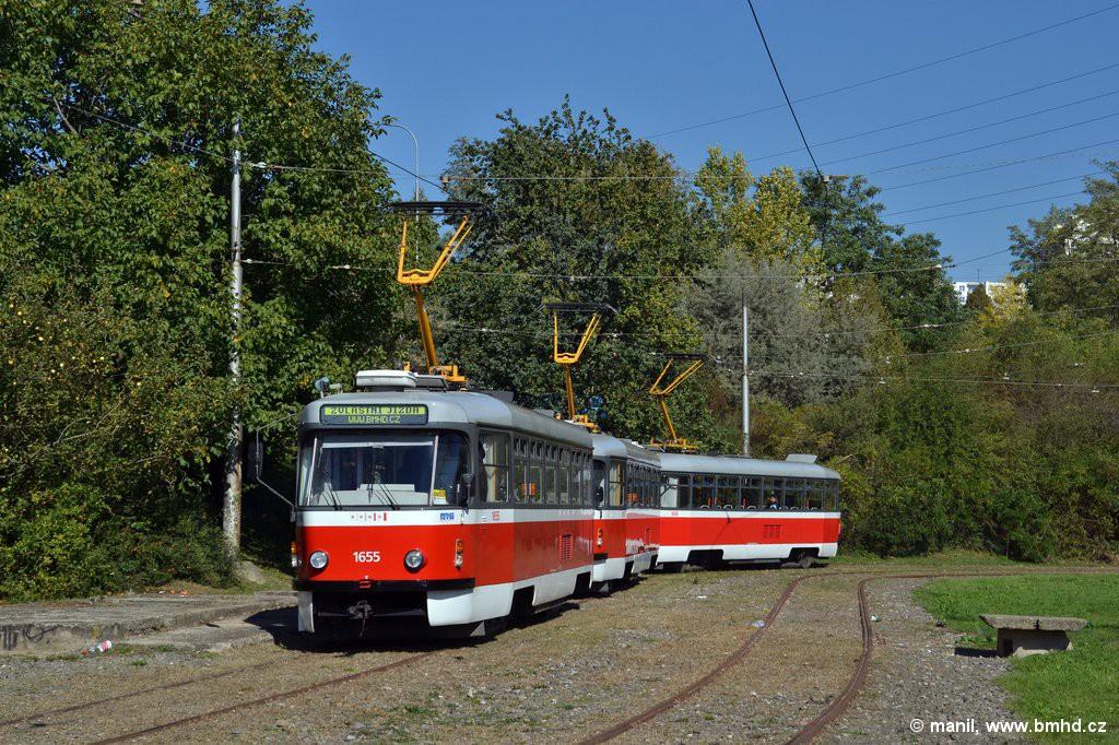 Fotogalerie » Pragoimex T3R.PV 1655 | Pragoimex T3R.PV 1657 | Pragoimex T3R.PV 1658 | Brno | Líšeň | Novolíšeňská | Novolíšeňská, smyčka