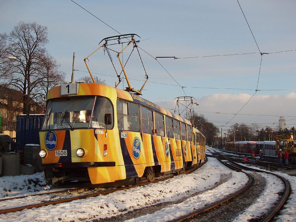 Fotogalerie » ČKD Tatra T3G 1608 | ČKD Tatra T3G 1606 | Brno | Pisárky | Hlinky