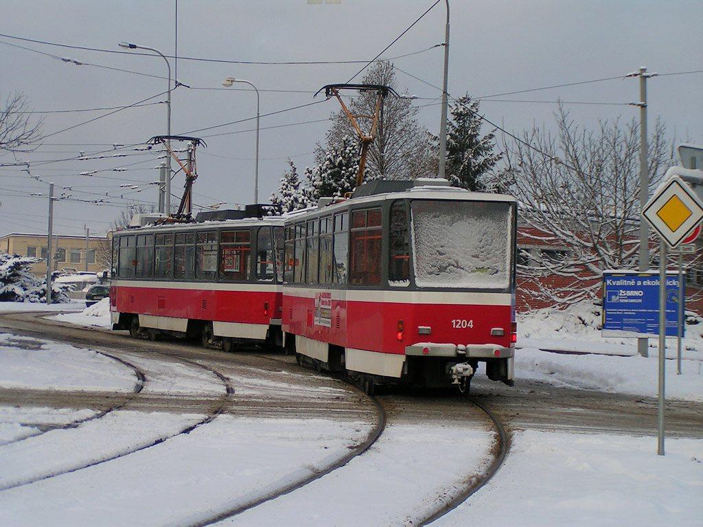 Fotogalerie » ČKD DS T6A5 1203 | ČKD DS T6A5 1204 | Brno | Medlánky | Hudcova