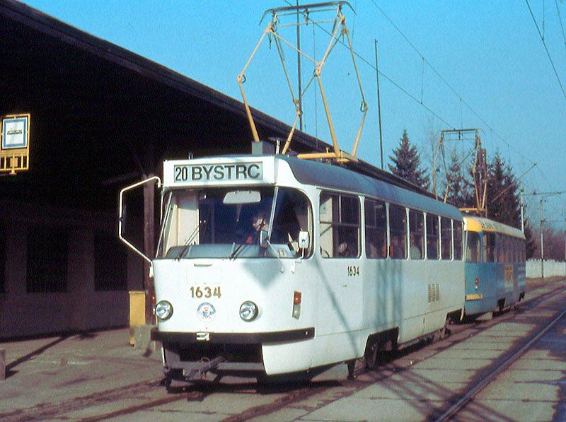 Fotogalerie » ČKD Tatra T3G 1634 | ČKD Tatra T3G 1616 | Brno | Stránská skála | Stránská skála
