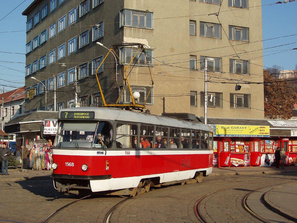 Fotogalerie » ČKD Tatra T3M 1568   Brno   Staré Brno   Mendlovo náměstí