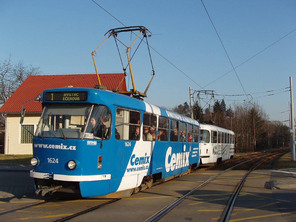Fotogalerie » ČKD Tatra T3G 1624 | ČKD Tatra T3G 1625 | Brno | Komín | Branka
