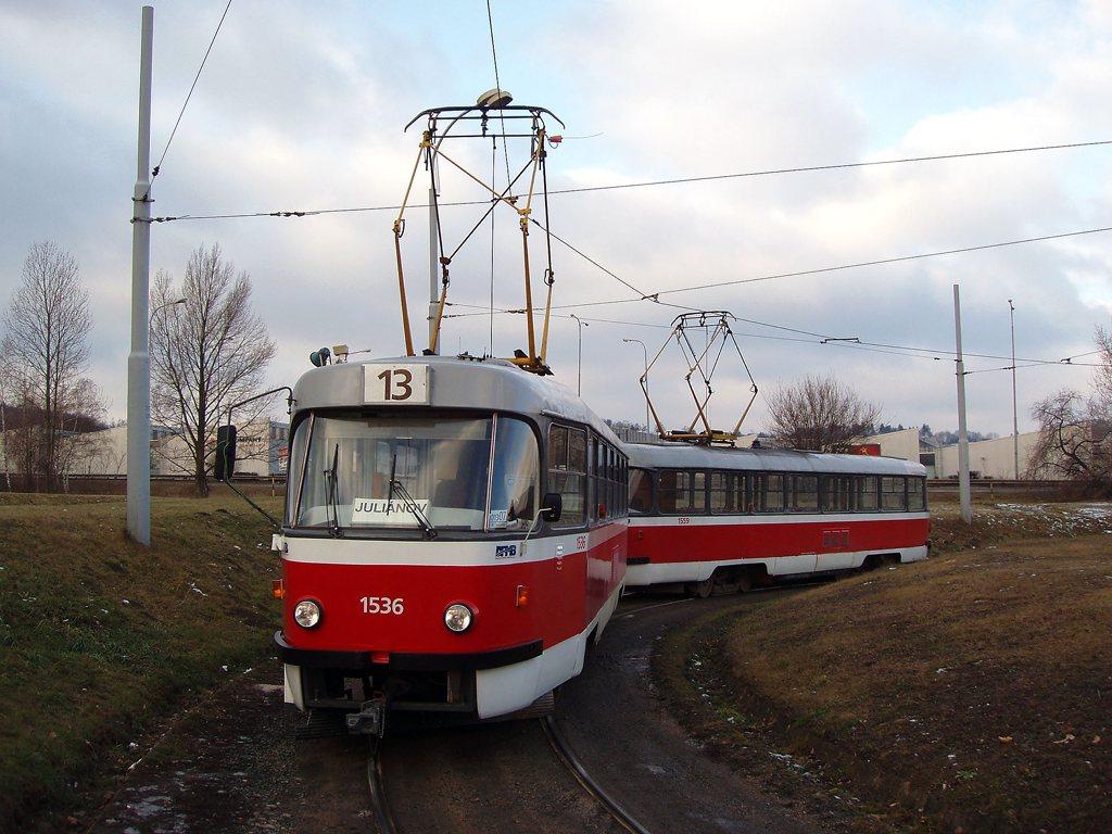 Fotogalerie » ČKD Tatra T3 1536 | ČKD Tatra T3 1559 | Brno | Královo Pole | Purkyňova | Technické muzeum, smyčka