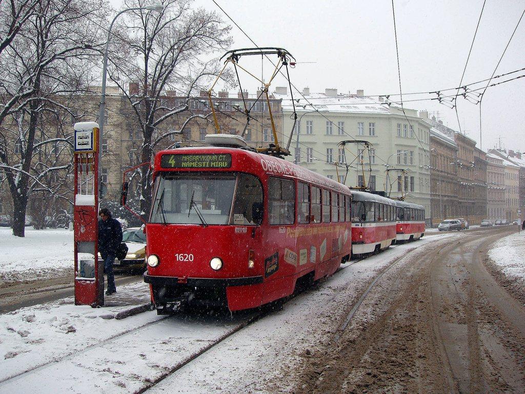 Fotogalerie » ČKD Tatra T3P 1620 | Brno | Veveří | Údolní | Obilní trh
