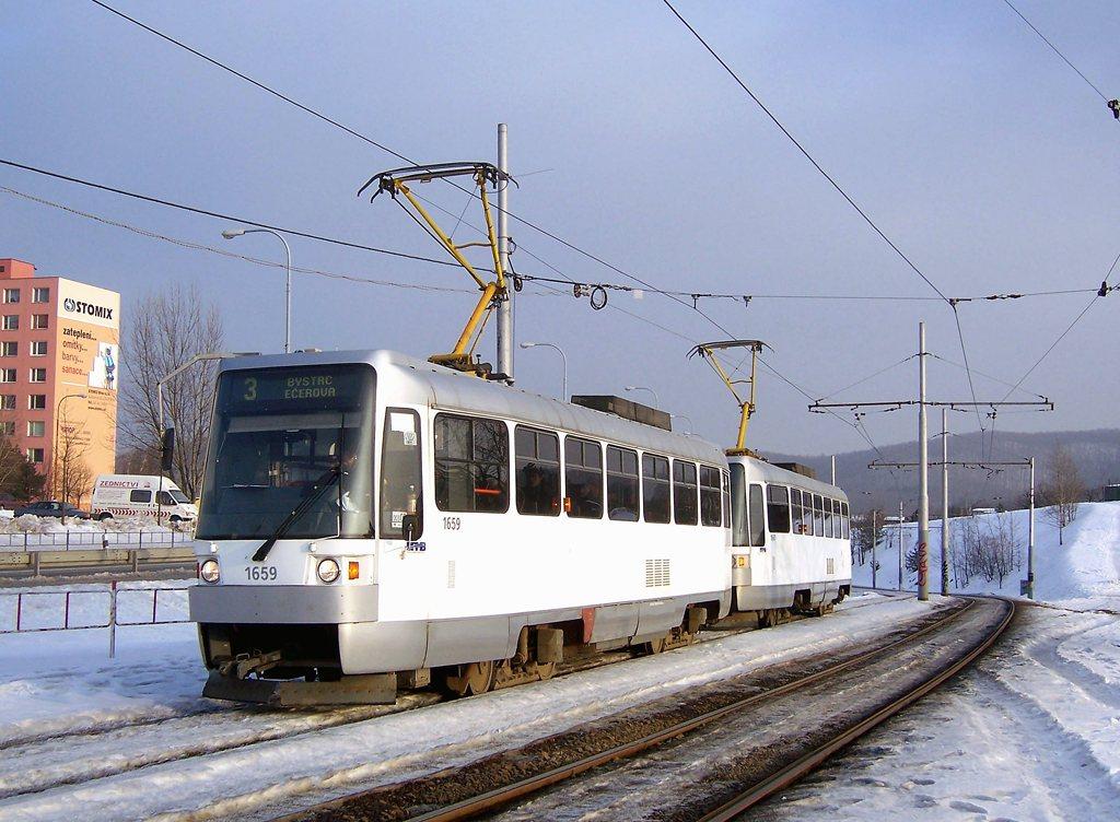 Fotogalerie » ČKD DS T3R 1659 | ČKD DS T3R 1660 | Brno | Bystrc | Vejrostova