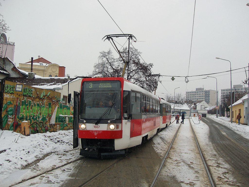 Fotogalerie » ČKD DS T3R 1667 | ČKD DS T3R 1668 | Brno | Žabovřesky | Sochorova | Sochorova