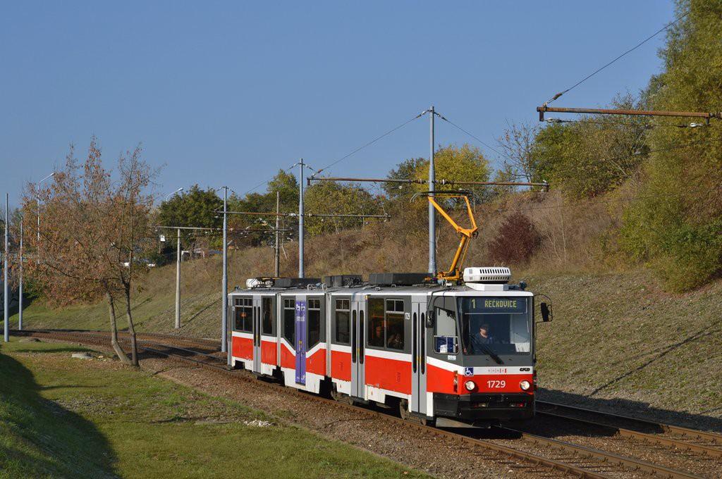 Fotogalerie » ČKD Tatra KT8D5N 1729 | Brno | Bystrc