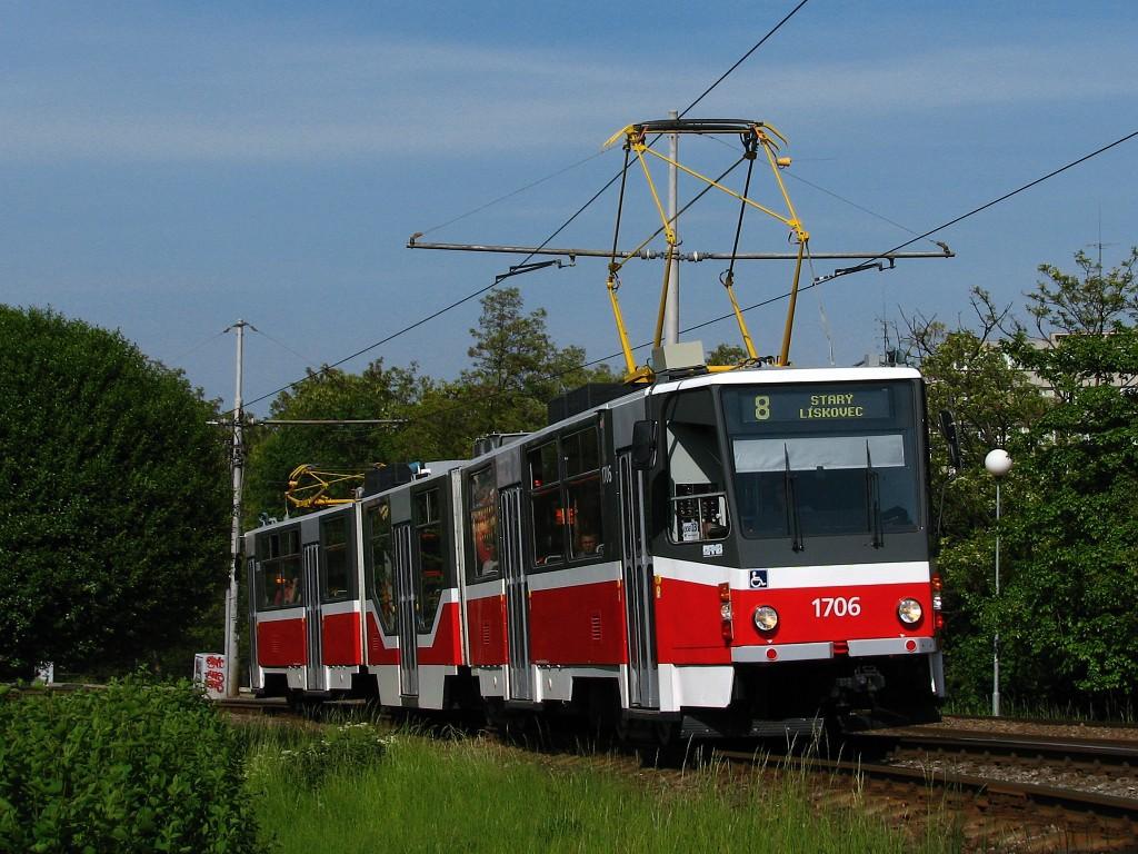 Fotogalerie » ČKD Tatra KT8D5R.N2 1706 | Brno | Štýřice | Jihlavská