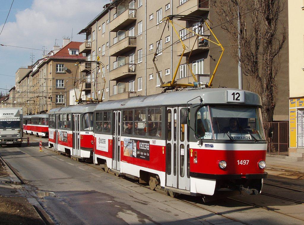 Fotogalerie » ČKD Tatra T3 1497 | ČKD Tatra T3 1511 | Brno | Královo Pole | Purkyňova