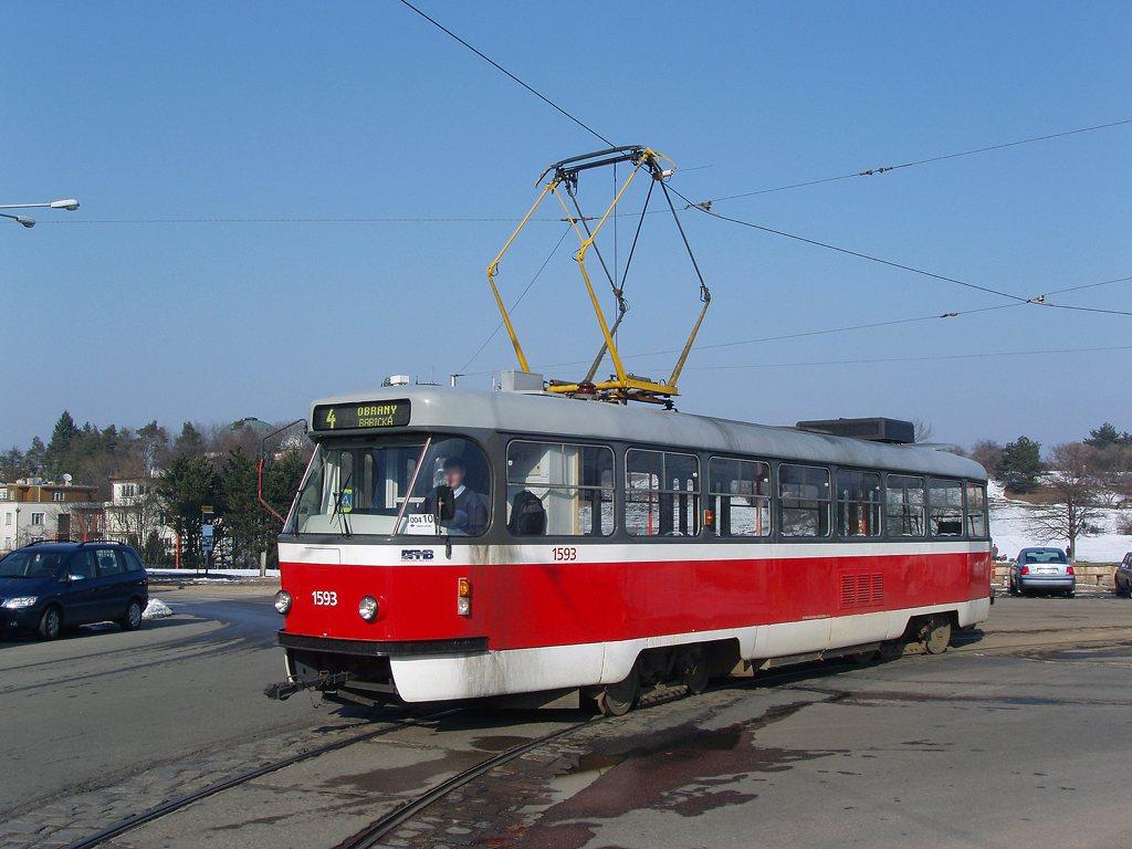 Fotogalerie » ČKD Tatra T3M 1593 | Brno | Masarykova čtvrť | Náměstí míru | Náměstí Míru, smyčka
