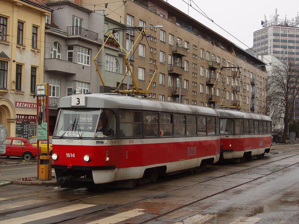 Fotogalerie » ČKD Tatra T3G 1614 | ČKD Tatra T3G 1613 | Brno | Žabovřesky | Veveří | Tábor